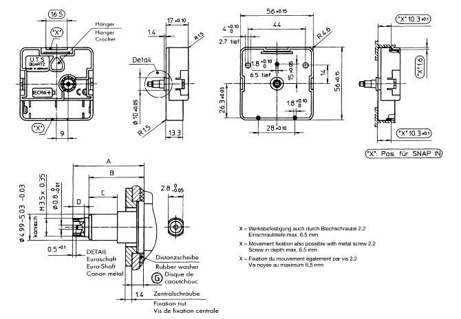 New Replacement UTS Quartz German Euroshaft Movement Mechanism Motor 16mm Shaft
